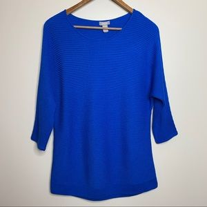 Chico's Royal Blue Ribbed Knit Sweater Blouse